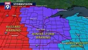 Blizzard warning in effect for western Minnesota