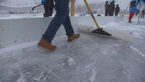 Cold and snow doesn't slow pond hockey players on Lake Minnetonka