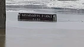Ice jam on Mississippi River causing flooding in Champlin, Anoka