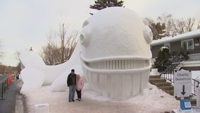Minnesota brothers build Walvis the whale, their biggest snow sculpture yet