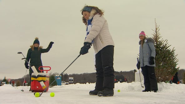 Minnesotans enjoy reprieve from brutal cold with round of golf on frozen lake