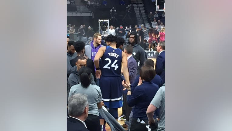 Wolves star Karl-Anthony Towns wears a number 24 jersey to honor Kobe Bryant.