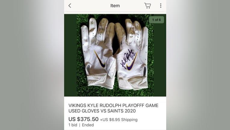 Kyle Rudolph gloves listing on eBay