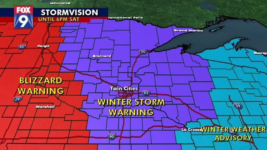 Blizzard warning in effect for western Minnesota