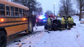 Sauk Centre school bus with no students aboard crashes head-on into car