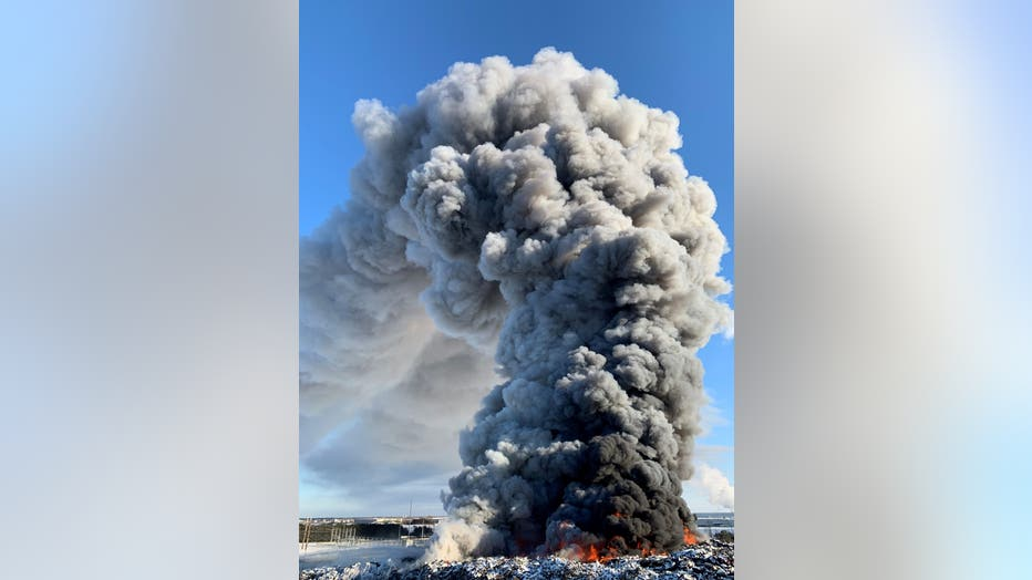 The Becker, Minn. fire at Northern Metals rages on Wednesday.