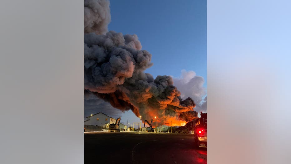 The Northern Metals fire in Becker, Minn. rages two days after it started.