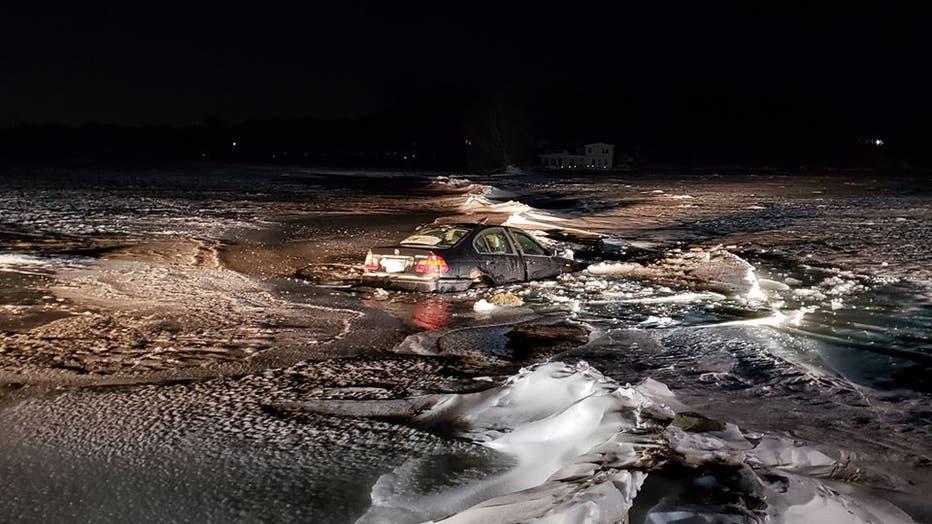 Car through ice near Chisago City