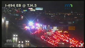 494 westbound lanes closed at Highway 5 near airport for crash