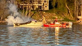 Man taken to hospital after boat bursts into flames on lake in Mound, Minn.