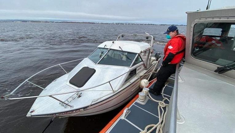 US Coast Guard rescue at Duluth Aerial Lift Bridge