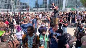 Crowd gathers to protest George Floyd death at US Bank Stadium