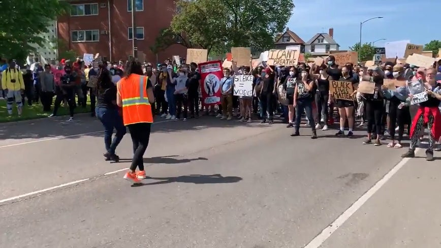 Protests move off highway after marching down I-94 in St. Paul