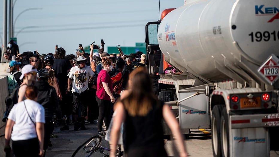 Semi drives into protesters on Minneapolis bridge