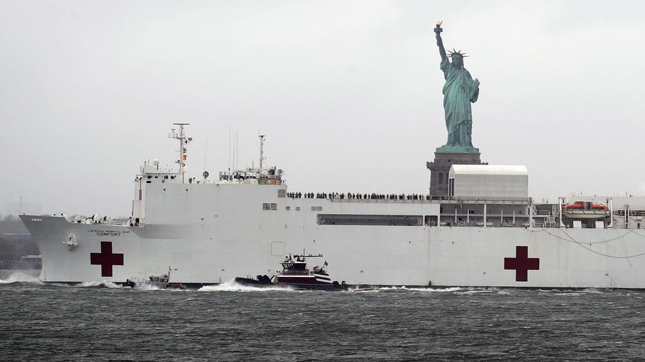 USNS Comfort Leaves NY Harbor As NYC Coronavirus Cases Decline