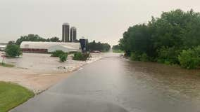 6 families evacuated, 5 motorists standing on cars rescued during flash flooding in Baldwin, Wisconsin