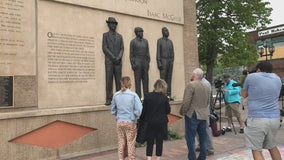 Gov. Walz tours memorial in Duluth, Minnesota to mark 100 years since Duluth lynchings