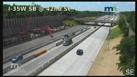 Crane falls over at I-35W construction site onto closed northbound lanes