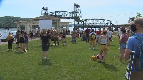 Dozens gather for rally in Stillwater, Minn. after incident involving 'Aryan Cowboys' biker gang
