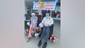 Car parade celebrates Sauk Rapids couple's 75th anniversary