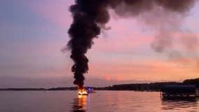 Long Lake Fire Department responds to boat fire on Lake Minnetonka Sunday night