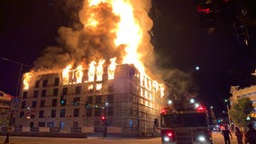Fire destroys construction site near Xcel Energy Center in downtown St. Paul, Minnesota