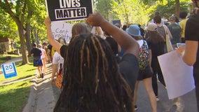 Demonstrators in Minneapolis stand in solidarity with Kenosha
