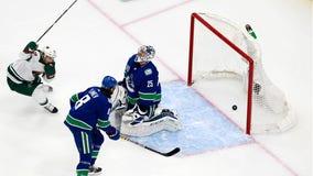 Spurgeon scores twice, Stalock records shutout as Wild get 3-0 Game 1 win over Canucks in Edmonton