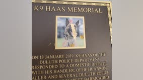 Plaque of Duluth K-9 officer killed in the line of duty vandalized, reward offered