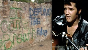 Elvis Presley's Graceland vandalized with graffiti messages including 'Defund MPD', 'Abolish ICE' and 'BLM'