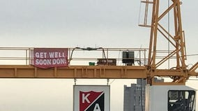 Get well banner unfurled for burn victim outside Minneapolis hospital
