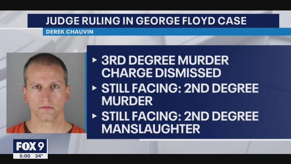 Judge dismisses 3rd-degree murder charge against Derek Chauvin