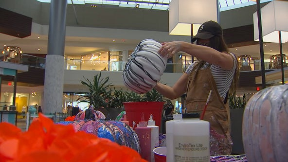 Artist paints pumpkins at Ridgedale Center to support breast cancer charity