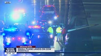 Small plane crashes into vehicle after landing on I-35W Wednesday night