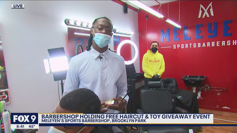 Minnesota barbershop holds free haircut and toy giveaway event for the holidays