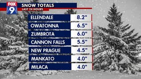 Snow totals: Heaviest snow in southern Minnesota, metro gets 2-5""