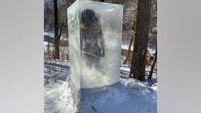 Frozen caveman sculpture appears on Minneapolis trail