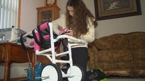 Champlin teen manufactures dog wheelchairs for families in need