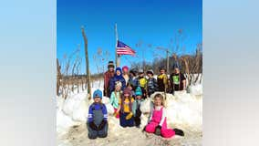 Minnesota students build outdoor classroom out of snow