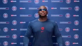 Watching and learning, Miguel Sano embracing first base for Twins