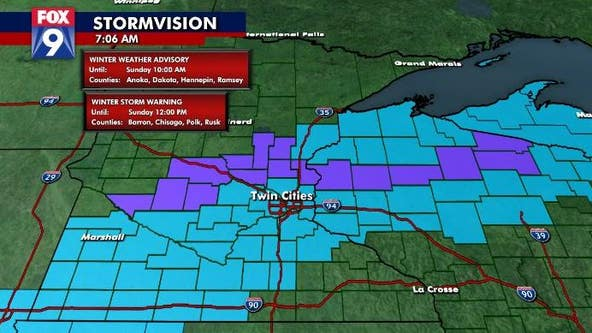 Twin Cities wakes to snow as temperatures dip on Sunday