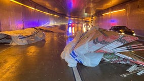 Drywall spilled in crash blocking lanes Lowry Hill Tunnel on I-94