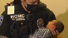 Newborn named after security officer who delivered her outside hospital