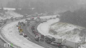 Crews respond to crashes, jackknifes, spinouts in slushy road conditions Monday