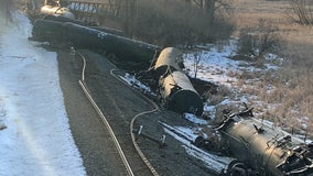 22 freight train cars carrying molten sulfur and asphalt derail in Plymouth, Minnesota