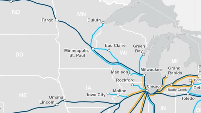 Midwest Amtrak routes