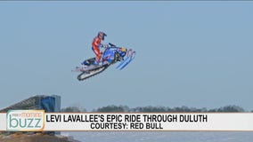Snowmobile Rider Levi LaVallee on his epic stunt ride through Duluth