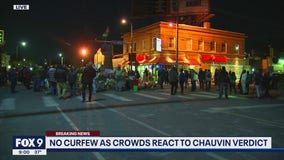 Crowds gather at 38th and Chicago following Chauvin verdict