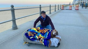 'This is a simple story about love': Couple makes mobile bed to take elderly dog on walks in final months
