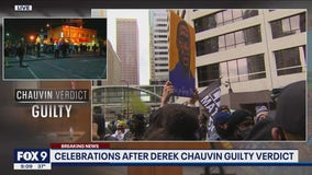 Crowds celebrate in downtown Minneapolis after Chauvin verdict